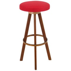 Two Red Hans Olsen Danish Modern Teak Bar Stools, Frem Rojle, Denmark, 1960s