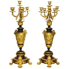 Pair of 19th Century Rococo Ormolu & Griotte Marble Candelabra, Barbedienne