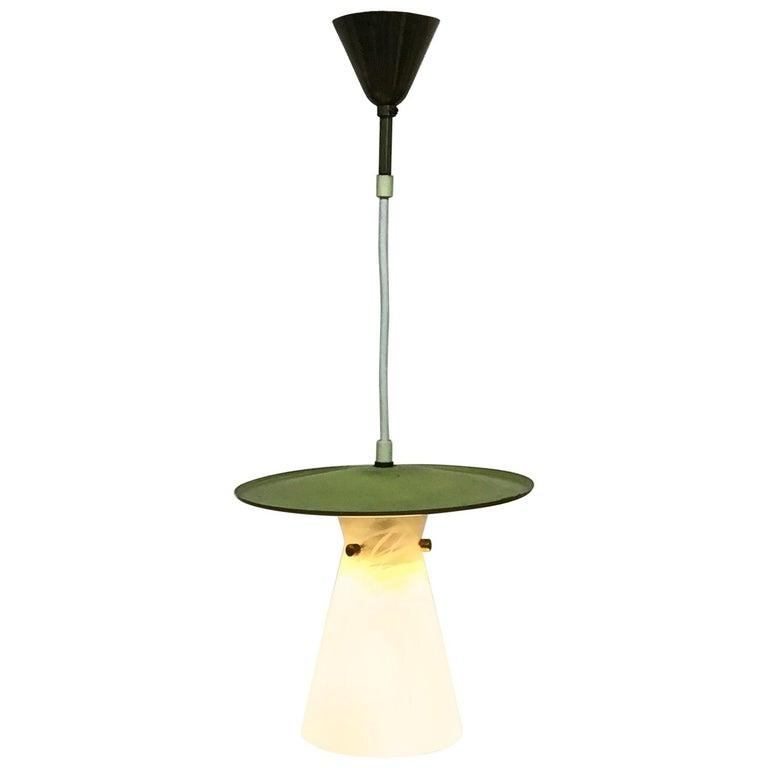 Italian Midcentury Pendant Lantern Glass by Venini, circa 1950s