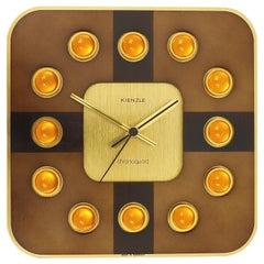 1970s Kienzle Chronoquarz Golden Hollywood Regency Op Art Wall Clock