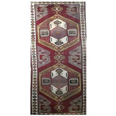 Mid-20th Century Wool Handcrafted Geometric Red Purple Caucasian Rugs