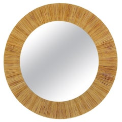 Beautiful Midcentury Round Wall Mirror With Raffia Bast Frame, France, 1950s