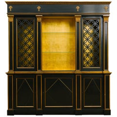1950s Painted Classical Display Cabinet with Gold Leaf Interior