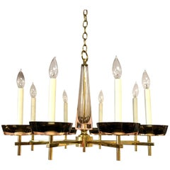 Mid-Century Modern Polished Brass and Murano Glass Chandelier Tommi Parzinger