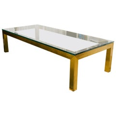 Large 1970s Bass and Thick Glass Parsons Style Coffee Table