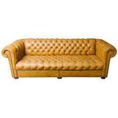 Leather Chesterfield Sofa with Brass Nailheads