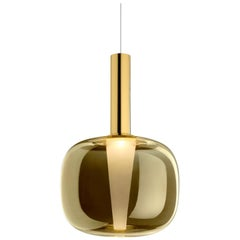 Ghidini 1961 Contemporary Suspension Lamp Solid Brass Cone and Glass Diffuser
