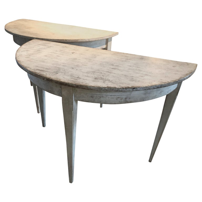 Pair of Ultra Chic Antique Gustavian Demilune Console Tables