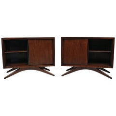 Vladimir Kagan for Grosfeld House Sculptural Walnut Nightstands, 1950s