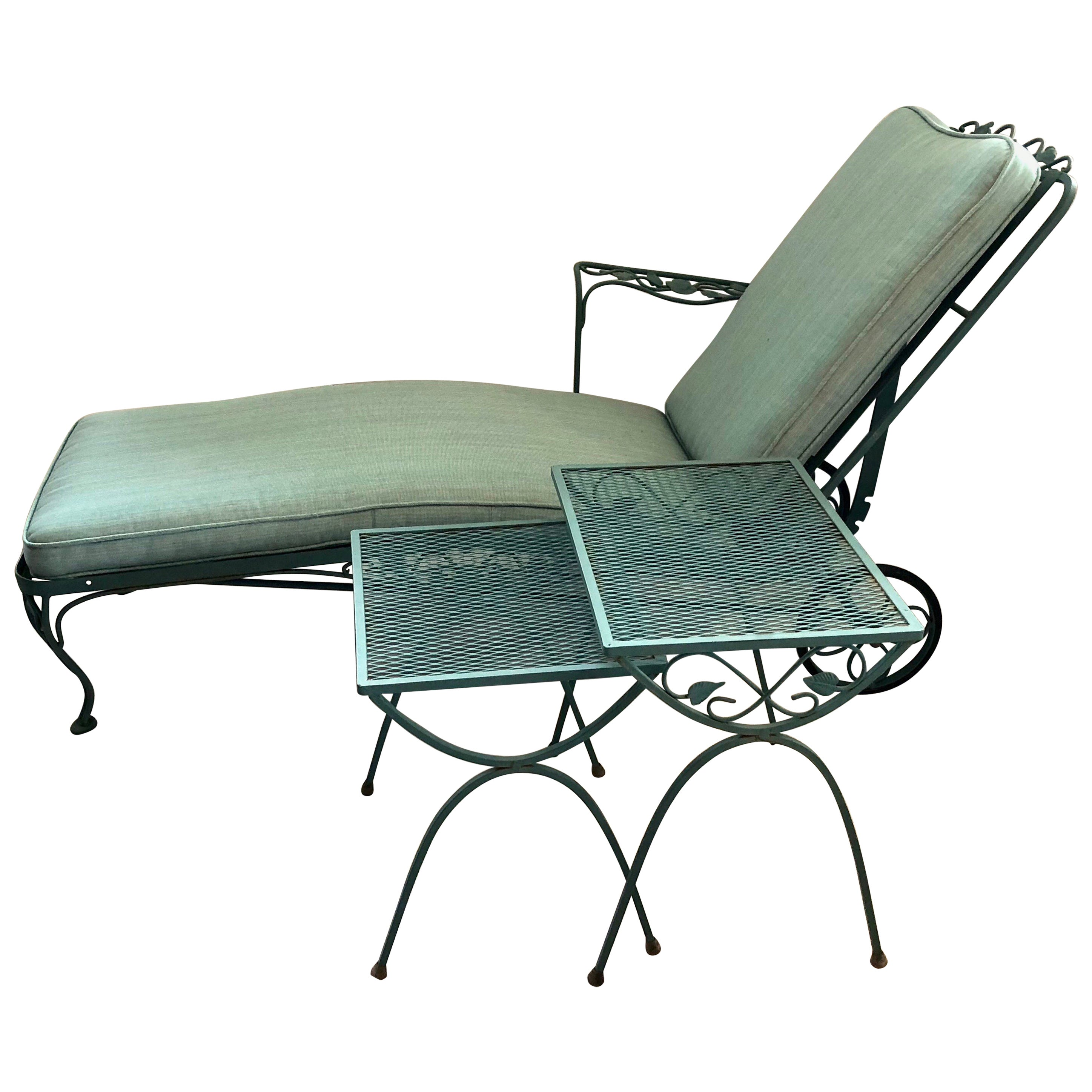 Green wrought iron patio furniture Coloured Metal Russell Woodard Green Wrought Iron Chaise Longue Chair And End Tables At 1stdibs 1stdibs Russell Woodard Green Wrought Iron Chaise Longue Chair And End