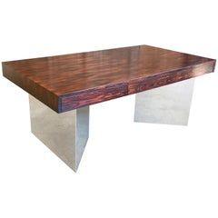 Rosewood and Mirror Polished Stainless Steel Executive Desk by Pace Collection