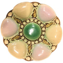 Antique Late 19th Century Majolica Oyster Plate
