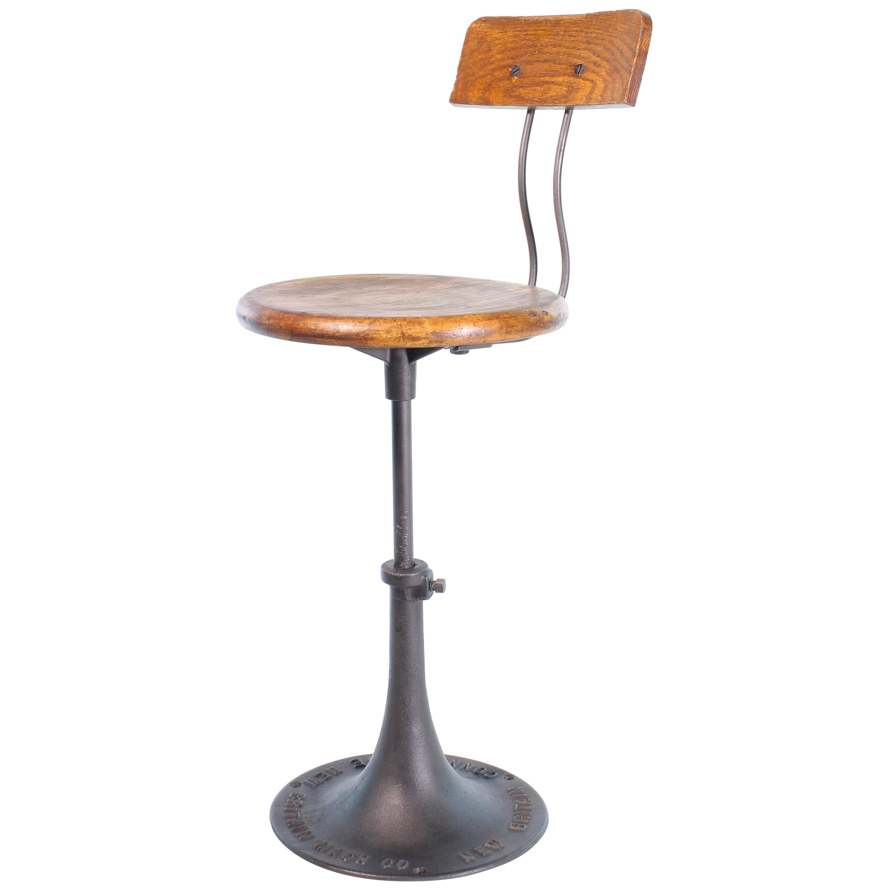 Incroyable Connecticut Factory Adjustable Stool With Back For Sale