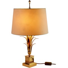 Maison Charles Style Gold-Plated Table Lamp by S A Boulanger, circa 1980