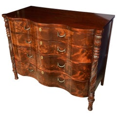 Foliate Carved Mahogany Wood Bowed Chest of Drawers