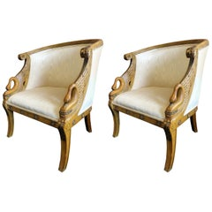 Pair of Maitland-Smith Hand-Carved Mahogany Empire Armchairs