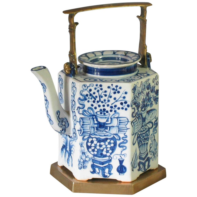 Charming Chinese Export Hexagonal Blue & White Teapot with Brass Handle & Tray For Sale