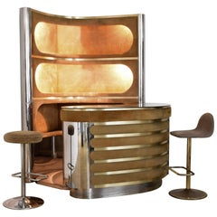 Dry Bar and Illuminated Storage of Willy Rizzo with Two Stool, Italy, 1970s