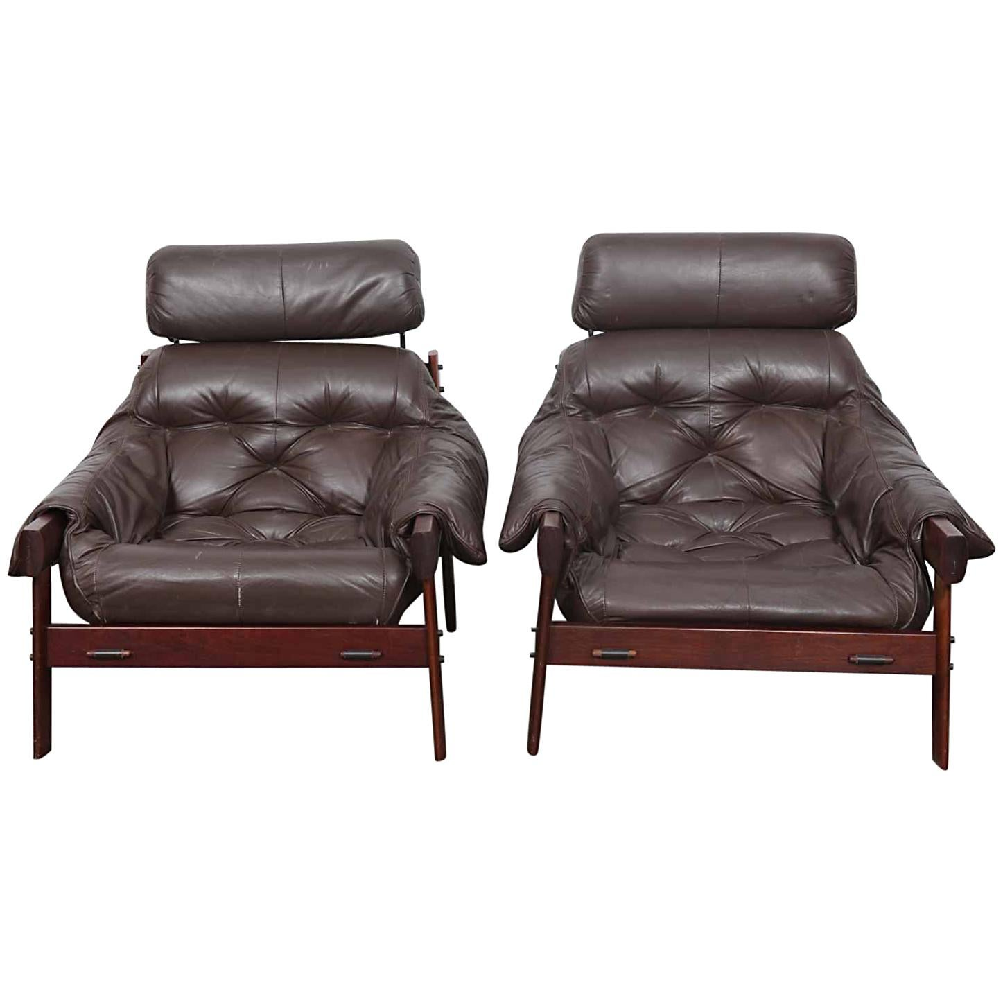 Pair Of Rich Dark Brown Leather Percival Lafer High Back Lounge Chairs