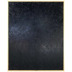 John O'Hara, Daisies, Black on Black, Encaustic Painting