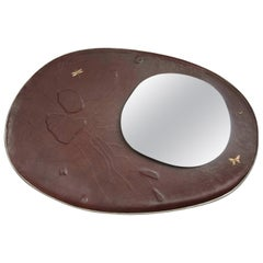 Leather Mirror with Gold, Silver and Copper Embroidery, France