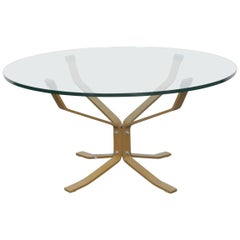 Danish Flat Bar Metal and Glass Coffee Table in the Manner of Sigurd Ressel
