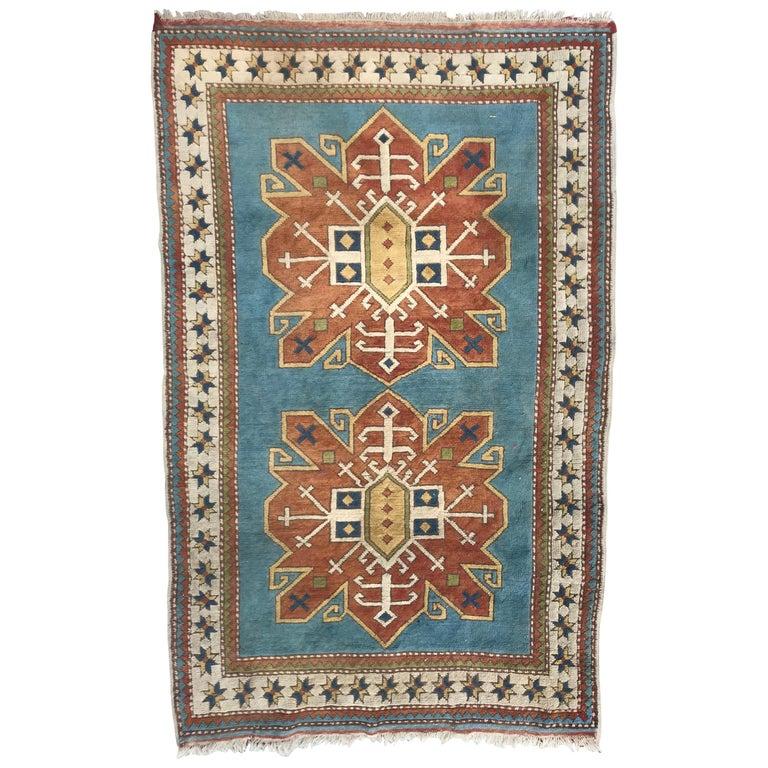 Vintage Turkish Kars Rug, Anatolian Rugs Kazak Design Carpet, Turkey Rugs