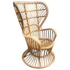 Large Sculptural, 1950s Italian Woven Rattan Lounge Chair by Lio Carminati