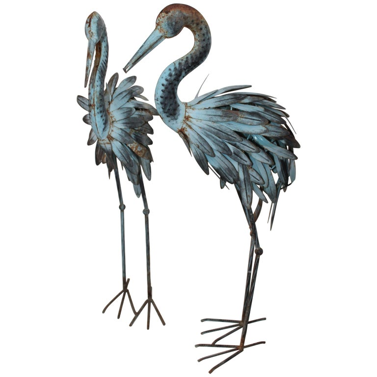 Pair of Blue Metal Flamingos in Original Blue Paint For Sale