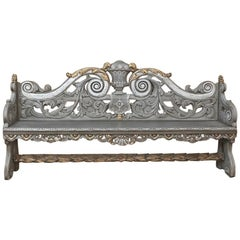 18th Century Dutch Baroque Hand Carved Oak Painted Hall Bench