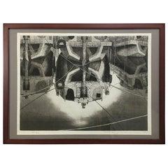 """Tanaka Ryohei Large Etching """"Barge Reflection"""""""