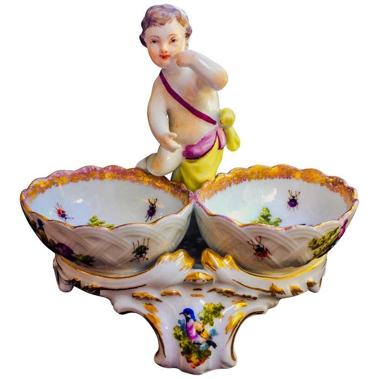 19th Century German Porcelain Kpm Berlin Hand Painted Double Salt