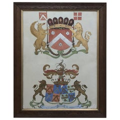 19th Century Framed Painting of Family Crests