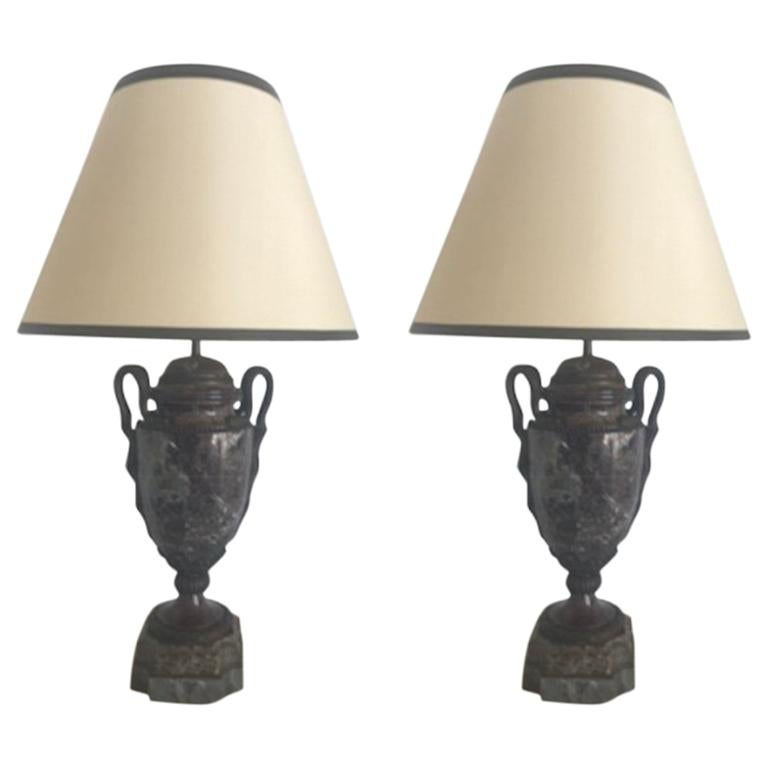 Pair of Early 19th Century French Marble and Bronze Lamps