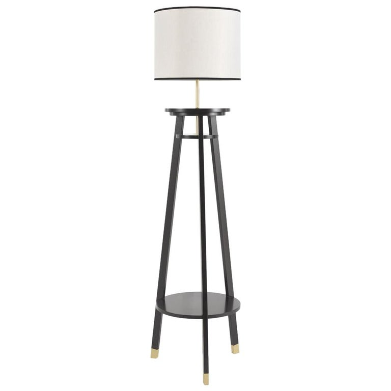 Gianfranco Ferre Watson Floor Lamp in Black Lacquered Wood