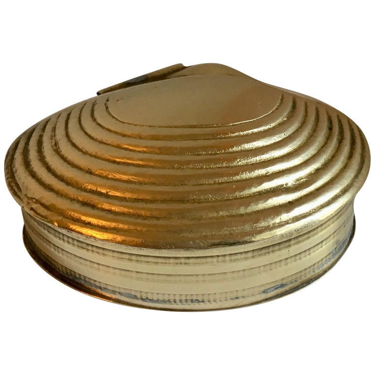 Brass Clam Shell Box with Hinged Lid