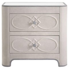 Gianfranco Ferré Infinity Night Table in Cream Leather