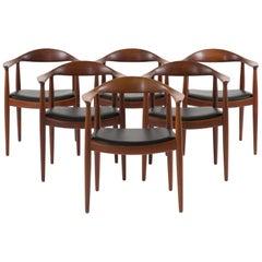 Hans J. Wegner Set of Six 'The Chair' in Teak for Johannes Hansen