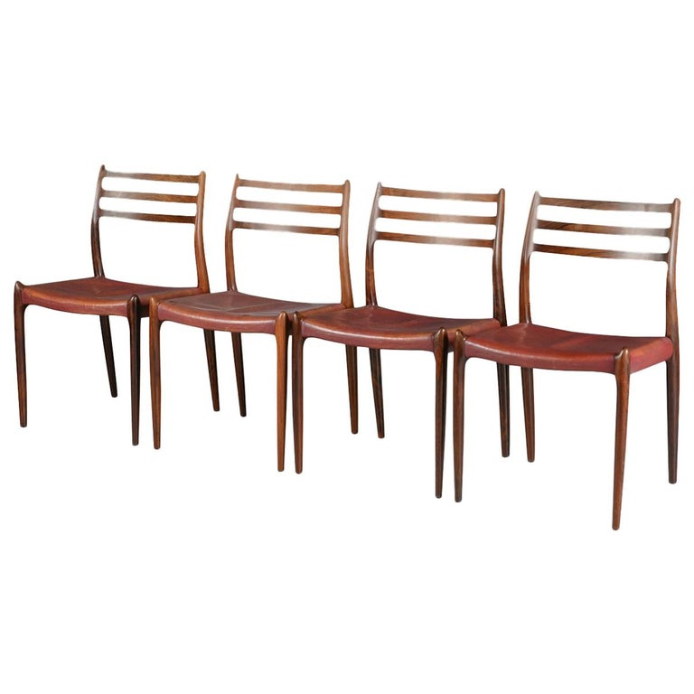 Set of Four Niels O Møller Model 78 Rosewood Dining Chairs, Denmark, 1960s For Sale