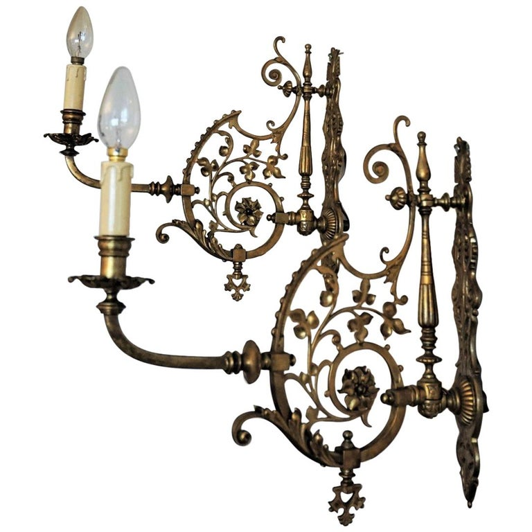 Early 20th Century Pair of Bronze Wall Sconces