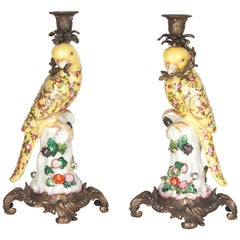 20th Century Pair of Gilt Bronze Mounted Porcelain Parrot Candlesticks
