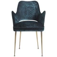 Gianfranco Ferre McAdam Chair in Blue Fabric with Bronzed Brass Legs