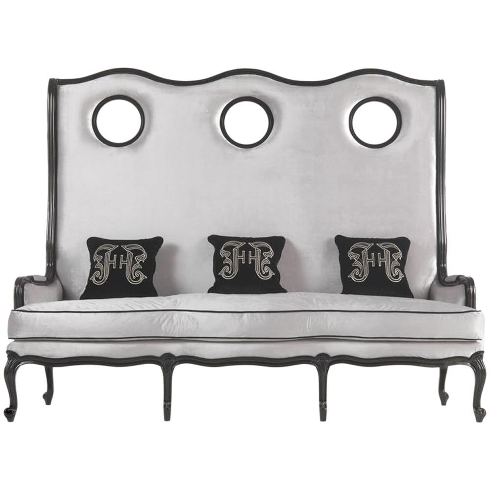 Gianfranco Ferré Big Ben Sofa In Grey Upholstery With Black Lacquered Frame