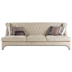 Gianfranco Ferre Bradmore Three-Seat Sofa in Cream Leather