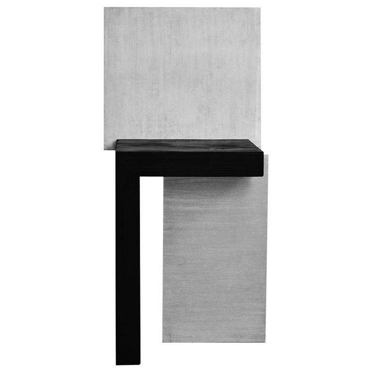 Contemporary Design Minimal Stool, Wood and Aluminium