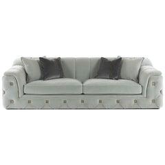 Gianfranco Ferre Hill Three-Seat Sofa in Light Grey Fabric