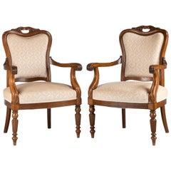 Pair of Mahogany Framed Easy Chairs