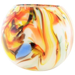 1960s Multi-Color Latticino Murano Glass Globe Vase