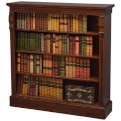 Victorian Solid Walnut Open Bookcase