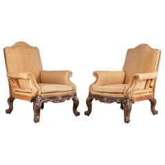 Well Carved Pair of Mahogany Framed Library Chairs